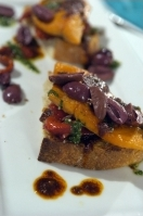 Guest Chef Michael Chiarello's pan-roasted trout bruschetta with chili vinaigrette.