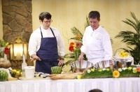 Chef Tony Aiazza and Chef Curtis Lincoln lead a cooking seminar and demonstration for guests of Taste of Vail.