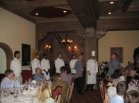 The chefs come out of the kitchen at Game Creek Club.