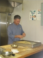 Guest Chef Michael Chiarello works his pasta by hand in the kitchen at Game Creek Club.