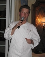 Guest Chef Lachlan Mackinnon-Patterson describes his dish at the Chef Showcase Dinner at the Sonnenalp.
