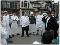 Chefs competing in Taste of Vail's second annual Colorado Lamb Cook-Off receive instructions before the competition begins on the streets of Vail.