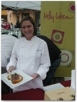 Chef Kelly Liken of Restaurant Kelly Liken, displays her